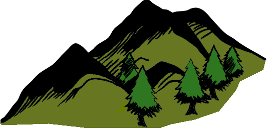 Evergreen Forested Mountains Small Area using the Mystara-style evergreen mountains background and heavy evergreens background green.