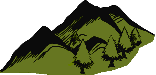Evergreen Forested Mountains Small Area using the Mystara-style evergreen mountains background green.